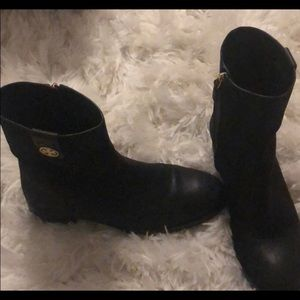 Tory Burch black and gold ankle boots